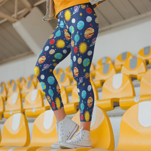 Outer Space Leggings Planets Leggings Galaxy Leggings Cute Space Leggings