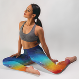 Galaxy Leggings Supernova Watercolor Print Rainbow Space Leggings Yoga Pants Yoga Shorts Capri Leggings Workout Leggings