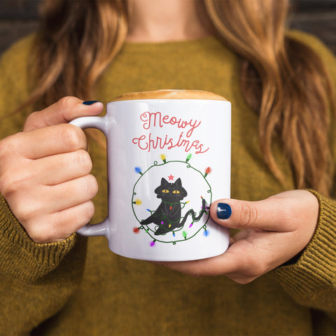 Meowy Christmas Cat Mug Cute Funny Christmas Mug Cat Lover Mug Cat Lover Christmas Gift