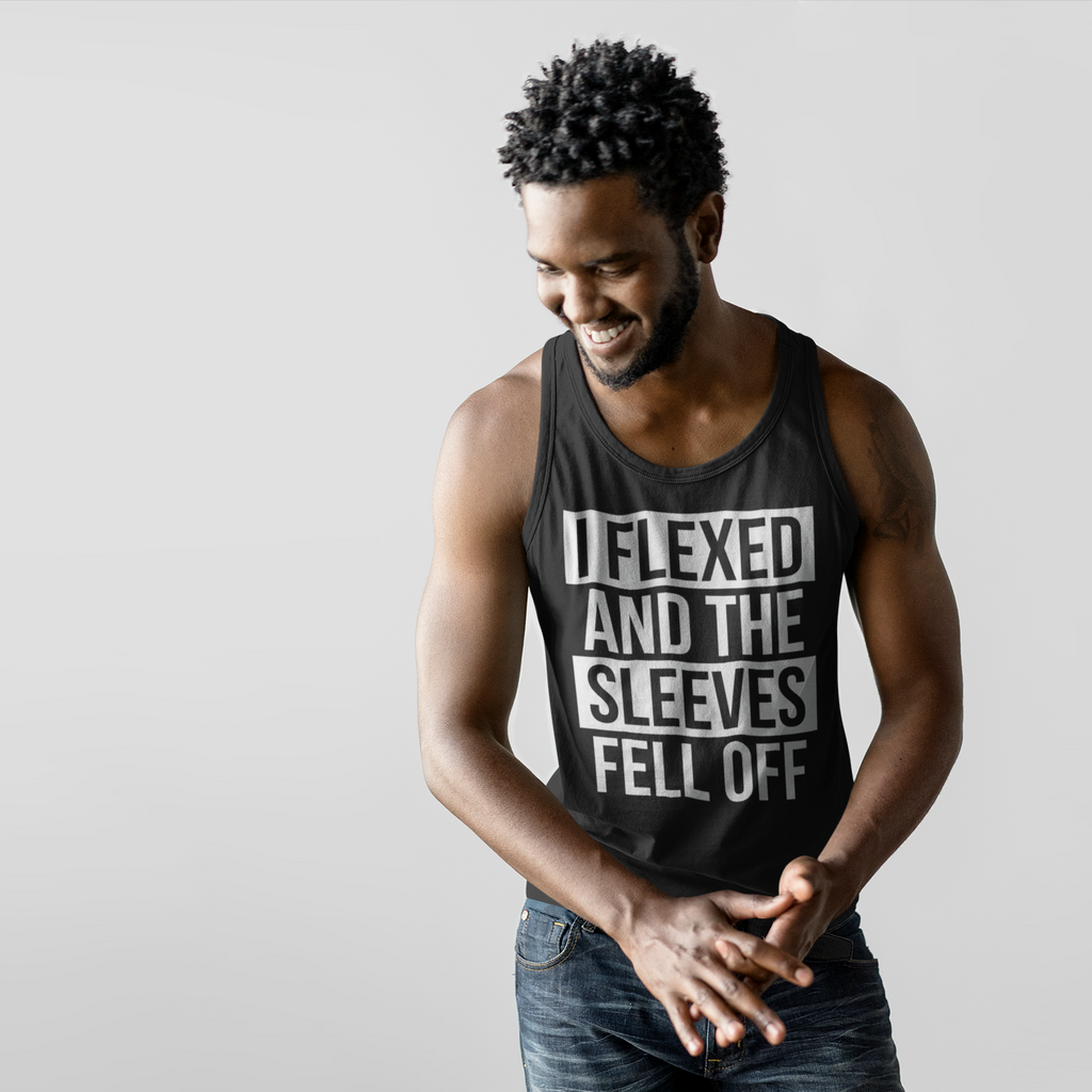 b976cb121b540a I Flexed and the Sleeves Fell Off Unisex Tank Top Funny Workout Tank Top  for Men ...