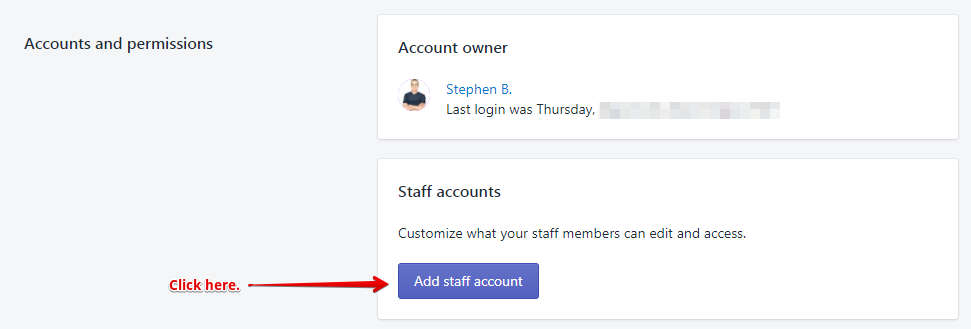 Add Staff Account - Shopify
