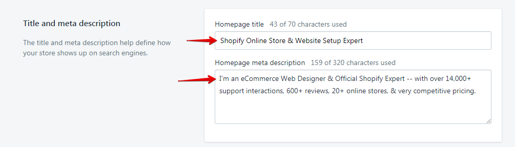 Example Shopify Homepage Title & Meta Description