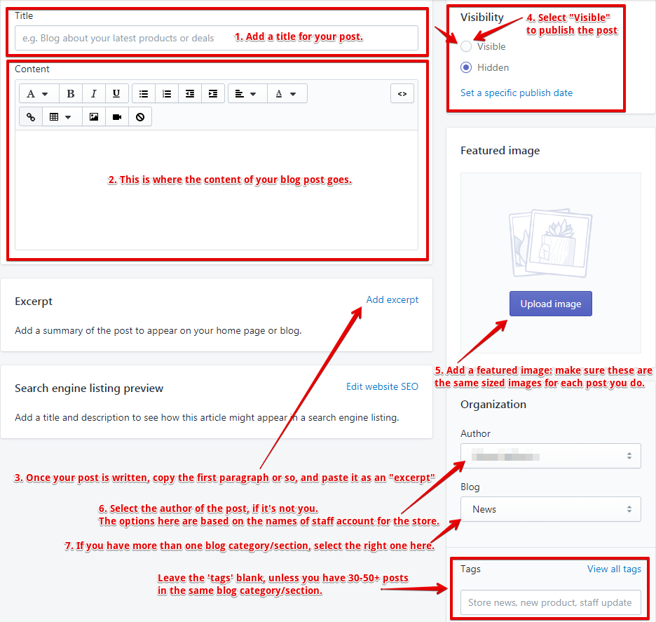 Create a blog post on Shopify