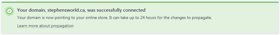 Domain Connected Successfully via Shopify