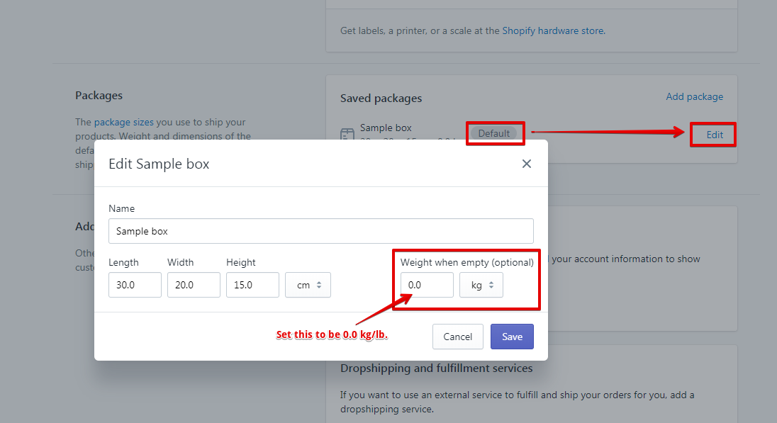 Shopify Package Weights
