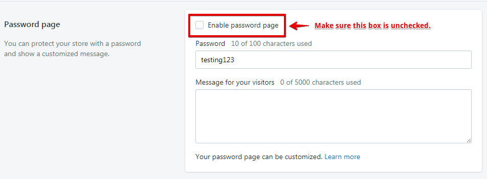 Remove Storefront Password - Shopify