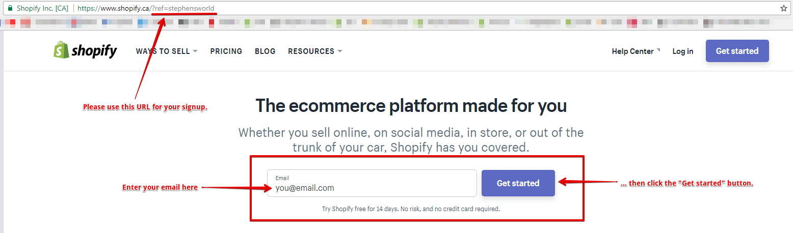 Signup for a Shopify Account
