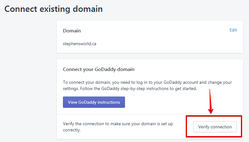 Verify Domain's Connection - Shopify