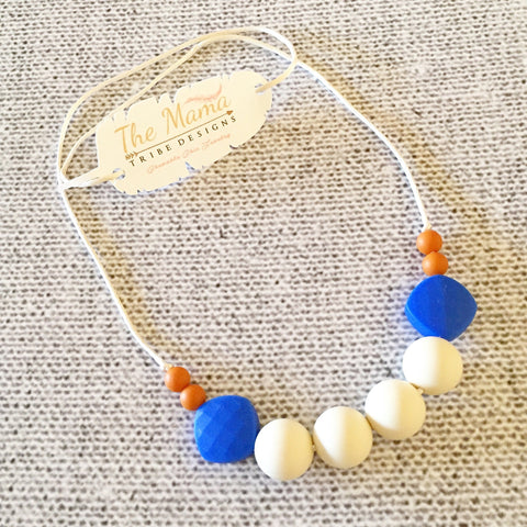 The Mama Tribe Designs Teething necklace nursing necklace for mom beige royal blue orange beads chewable food-grade silicone beads breastfeeding new mom gift baby shower gift teething baby with breakaway clasp