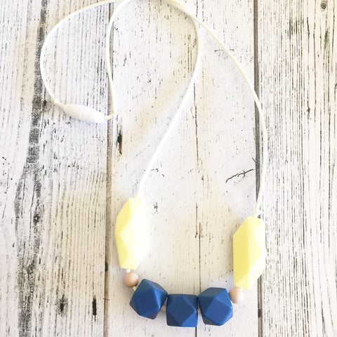 The Mama Tribe Designs Teething necklace nursing necklace for yellow blue sapphire beads chewable food-grade silicone beads breastfeeding new mom gift baby shower gift teething baby with breakaway clasp
