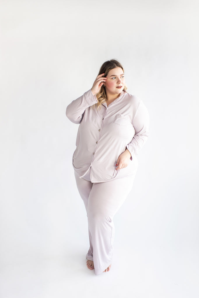 Ladies Button-Up Thermal PJ - Lilac