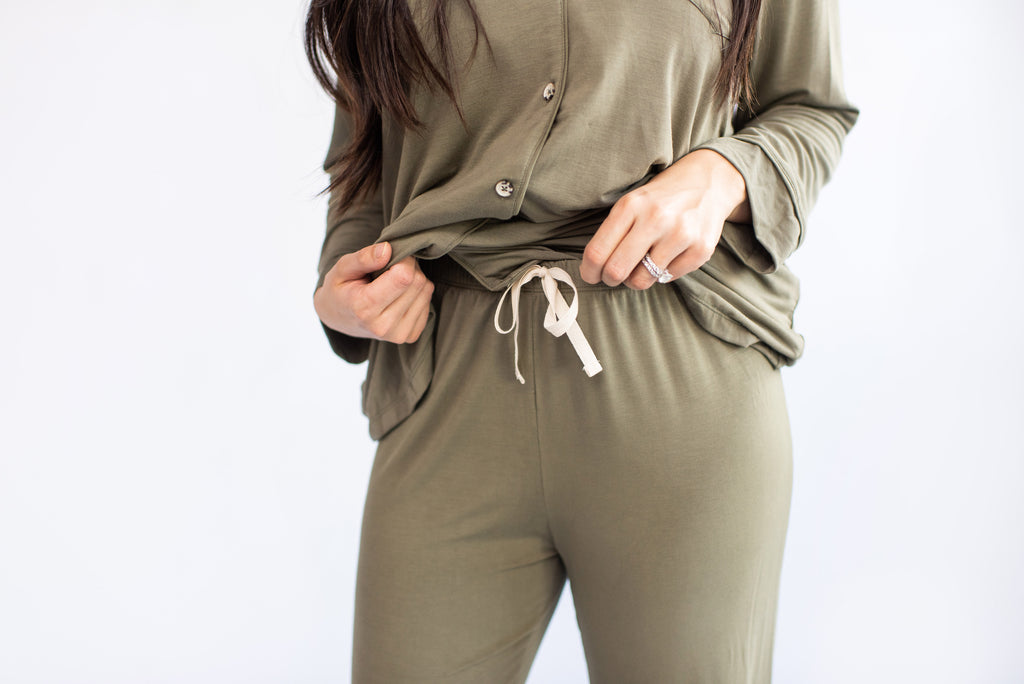 Ladies Button-Up Thermal PJ - Olive