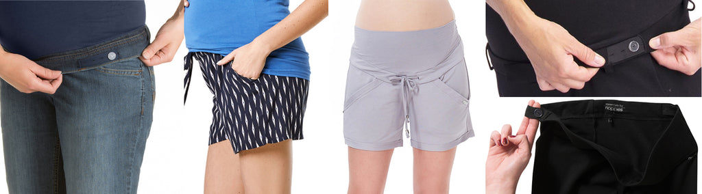 Maternity Bottoms-Adjustable Elastic with Buttonholes and Drawstrings