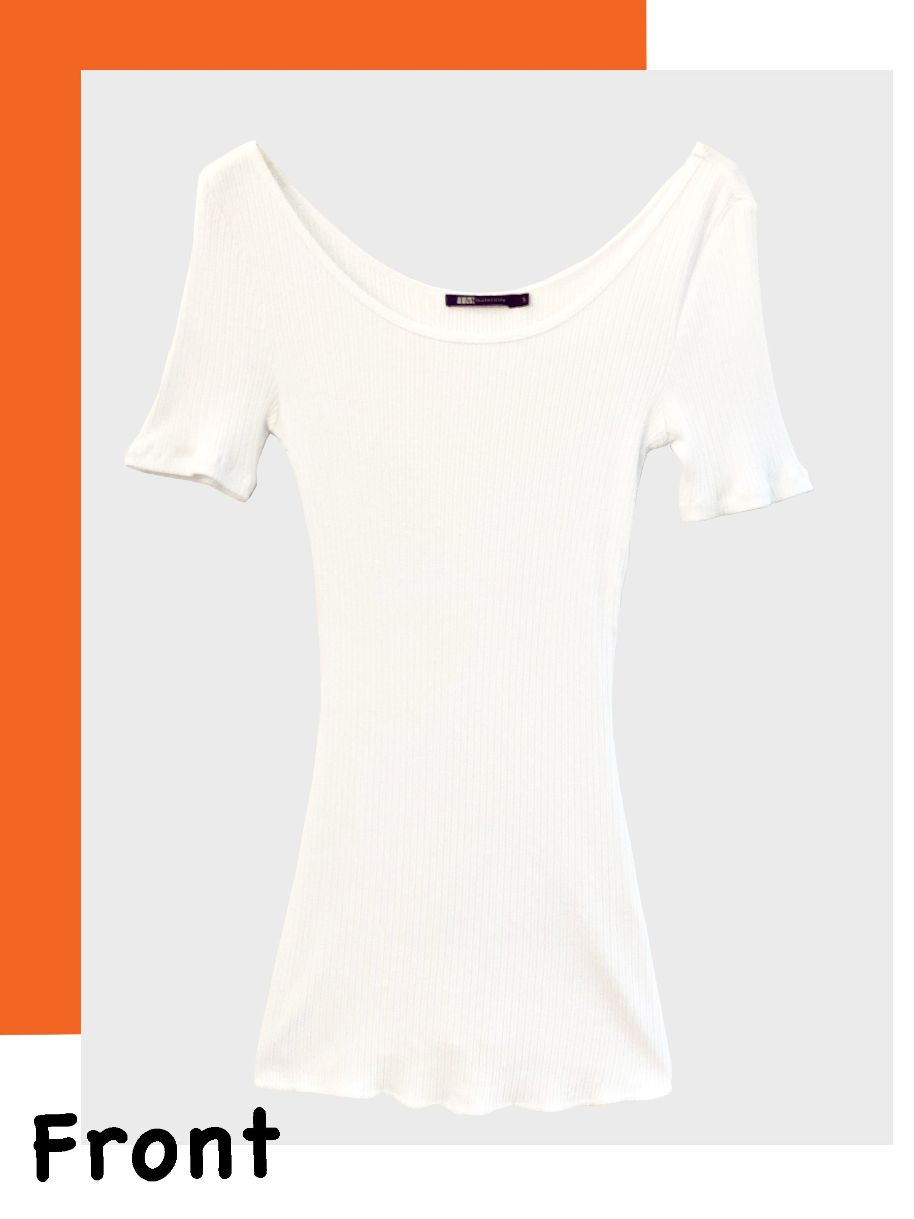 Scoop Neck White Cotton Ribbed Maternity Tee