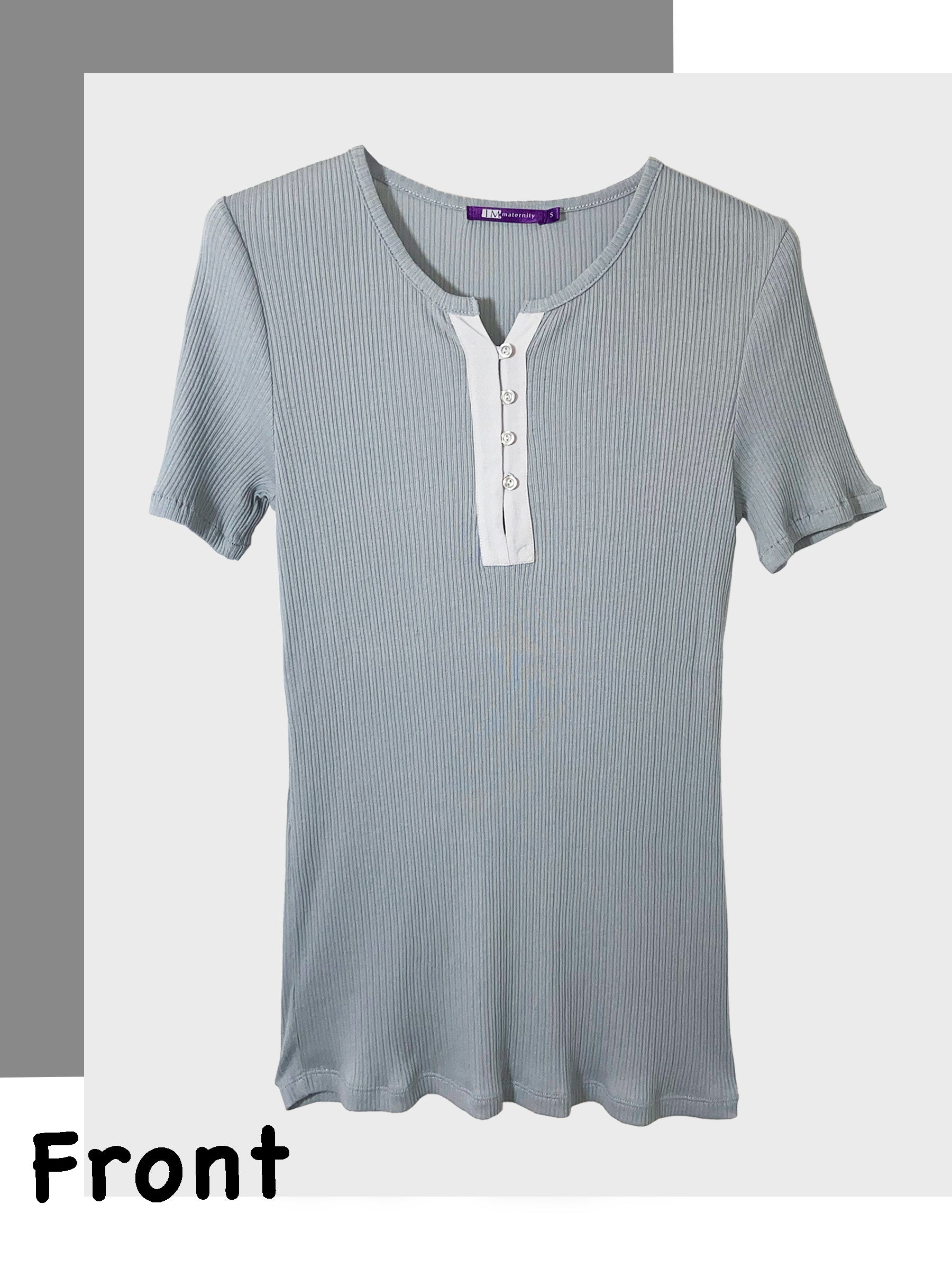 Ribbed Cotton Top with Button Placket