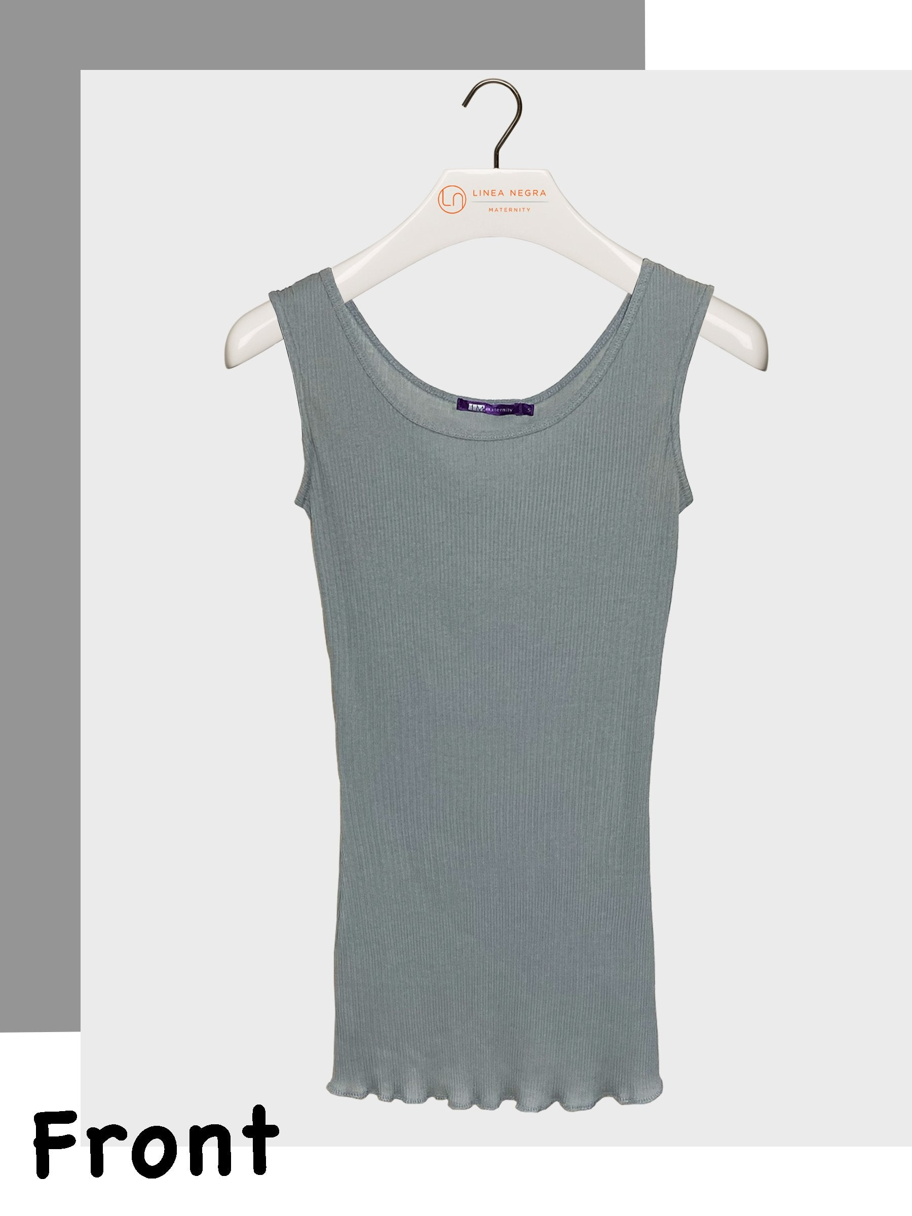 Sleeveless Scoop Neck Cotton Ribbed Maternity Tank