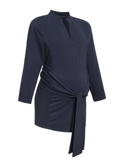 9 Fashion Mandarin Collared Maternity Shirt with Ruched Belt - Product Shot - Navy Color
