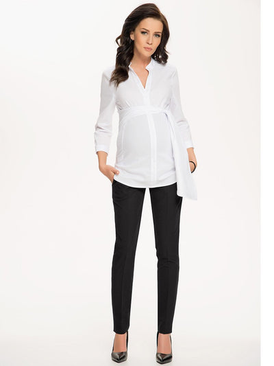 9 Fashion Mandarin Collared Maternity Shirt with Ruched Belt Paired with Maternity Skinny Work Pants