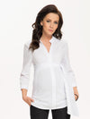 9 Fashion Mandarin Collared Maternity Shirt with Ruched Belt - White Color