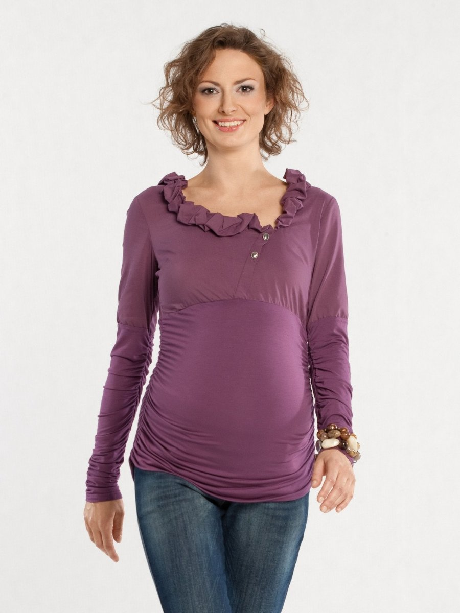 9 Fashion Long Sleeve Ruffled Neck Dual Fabric Maternity Shirt