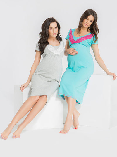 9 Fashion Maternity Laced Pajama Nursing Dress - Two Models Sitting - Light Grey and Lagoon Blue