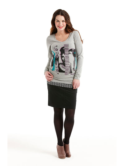 Maternity Clothes Stretchy Graphic Tee for Pregnant Belly