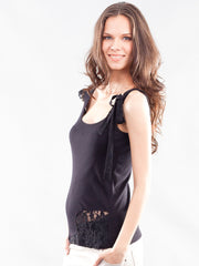 Asymmetrical Shoulder Lace Detailed Maternity Tank