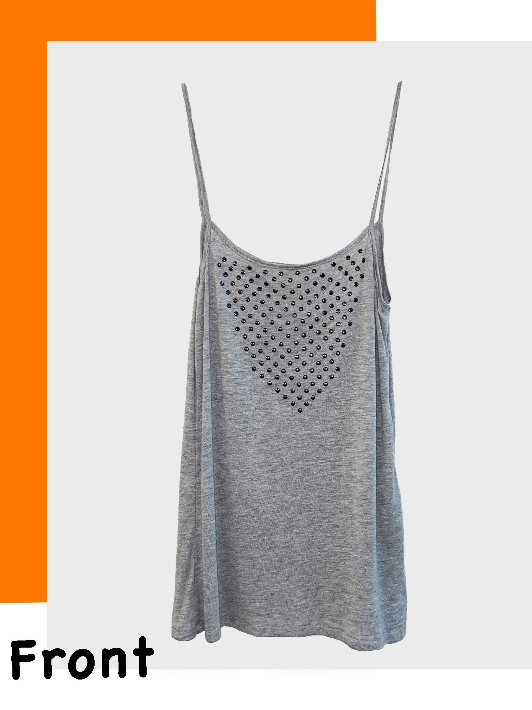Breathable Modal Spaghetti Strap Maternity Tank with Stud Detail