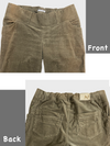 Maternity Wear Corduroy Pants-Details of Pregnant Waistband, 5 Pockets and Front Distressing