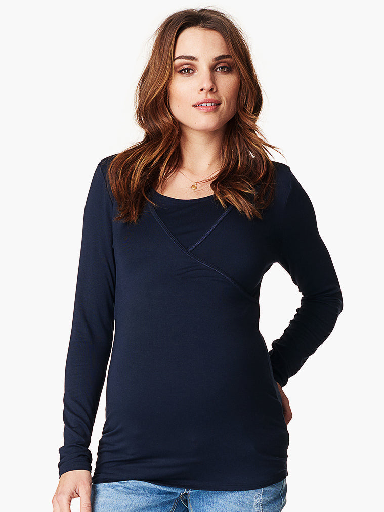 Long Sleeve Faux Wrap Nursing and Maternity Top