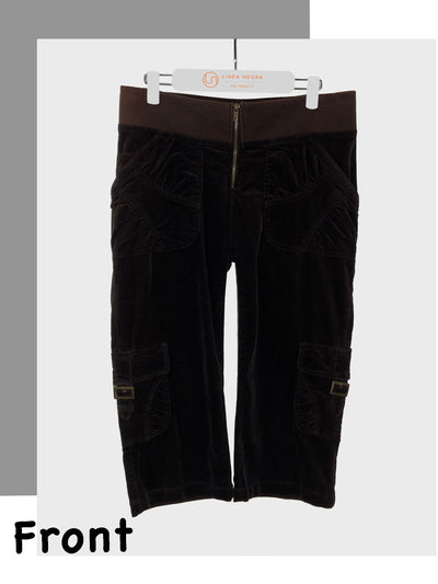 Maternity Corduroy Cargo Crop Pants Chocolate Brown