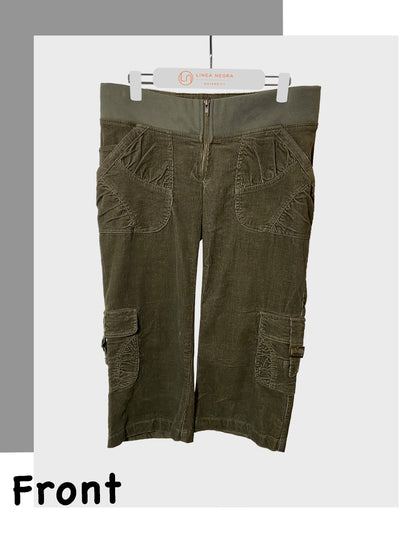 Maternity Winter Pants Corduroy Crop Cargo Pants Olive Green