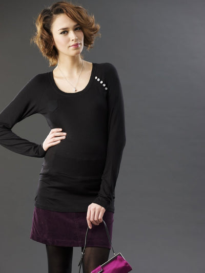 Matenity Top with Pocket & Button Details Paired with Maternity Corduroy Skirt