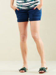 Cotton Maternity Shorts with Belly Panel