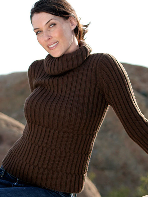 Ribbed Alpaca Maternity Turtleneck Sweater