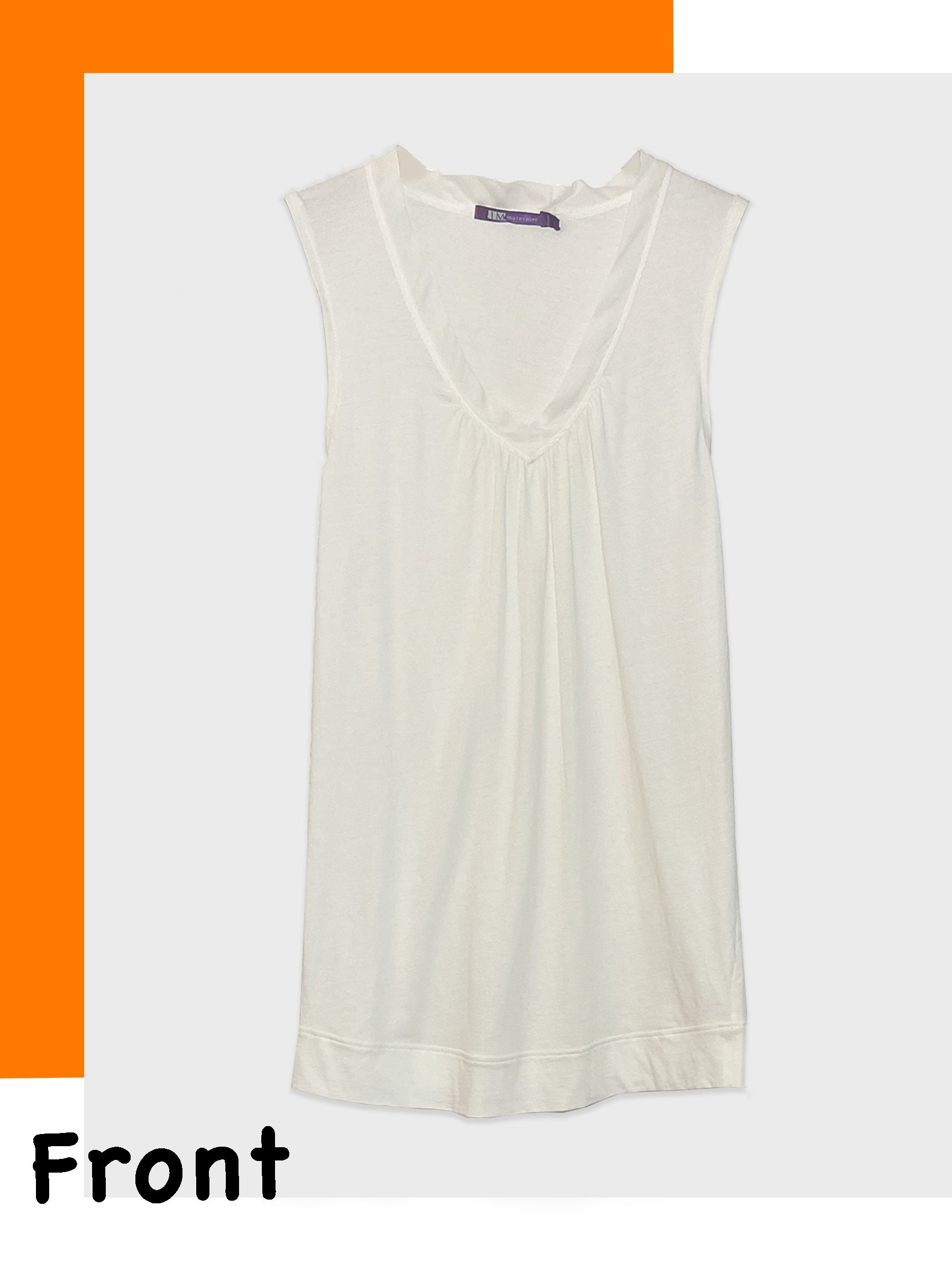 Sleeveless Cotton Tee with Silk Pleated V-Neckline