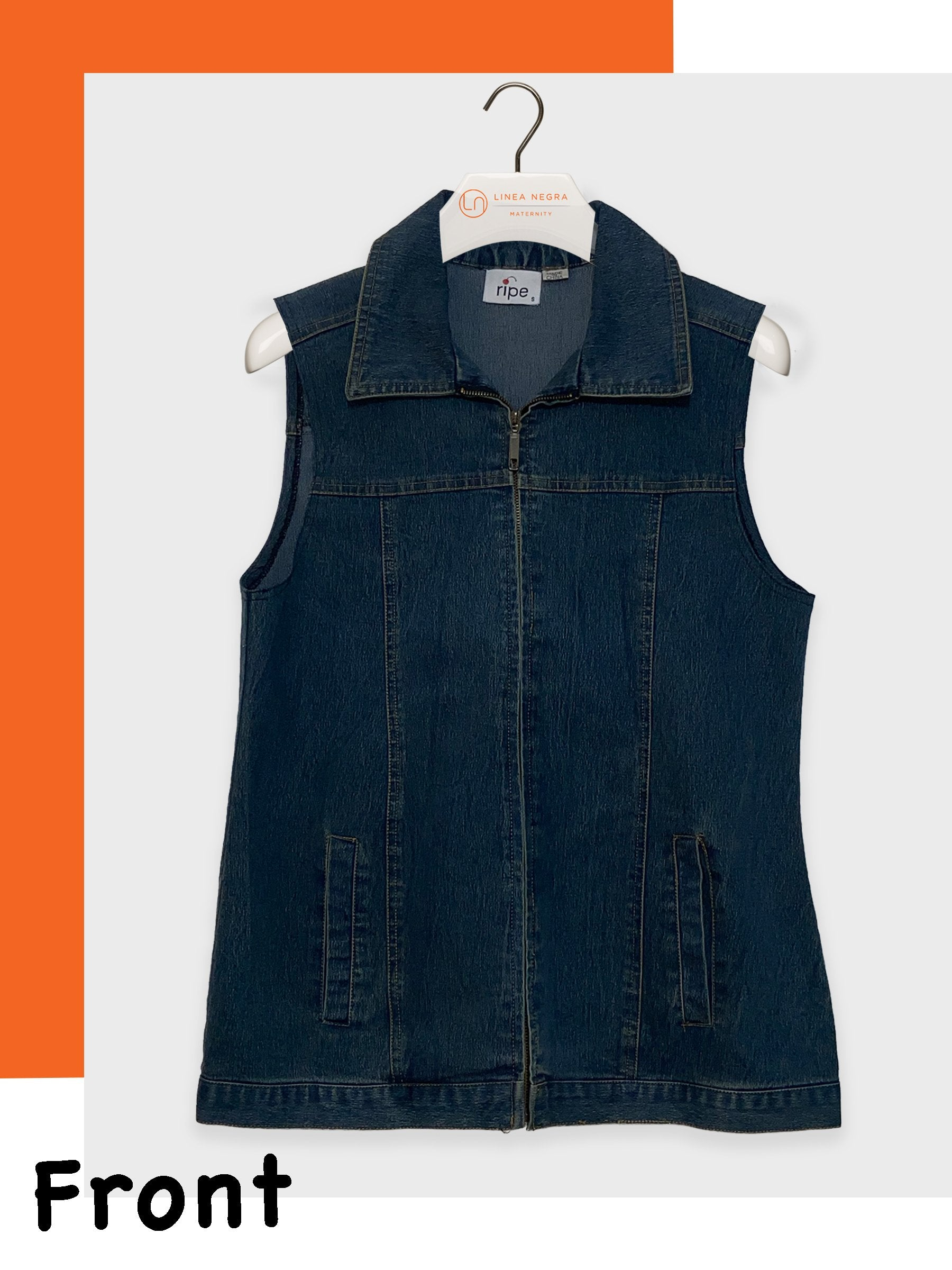 Ripe Maternity Sleeveless Denim Jacket for Pregnant Mamas