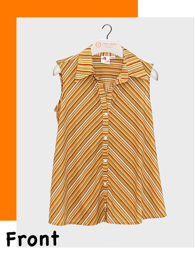 Sleeveless Button-Up Striped Nursing-Friendly Maternity Blouse