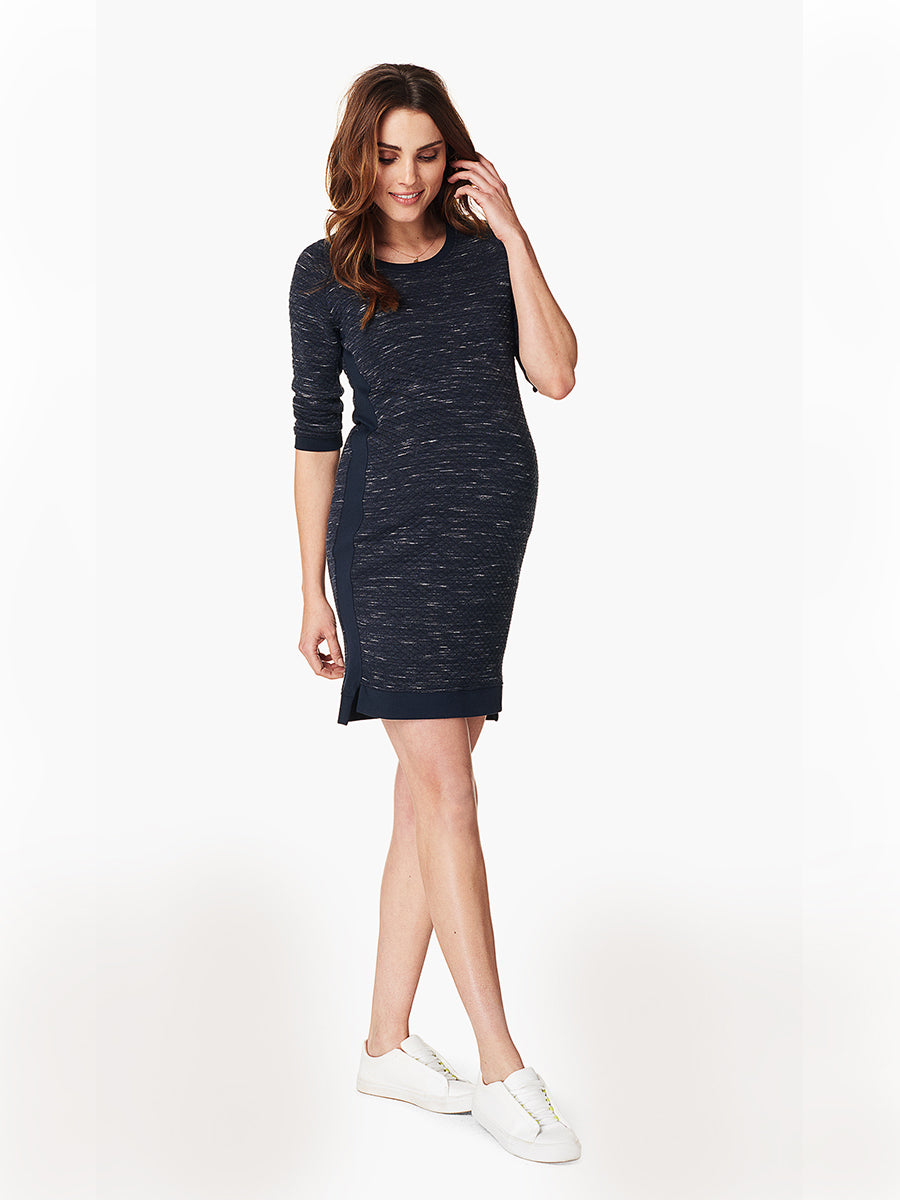 Sportive Quilt Patterned Maternity Dress