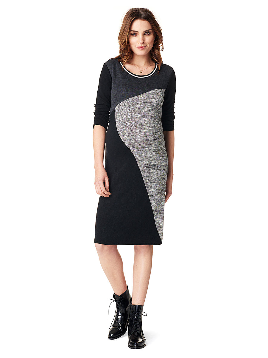 Colorblock Sweater Knit Maternity Dress