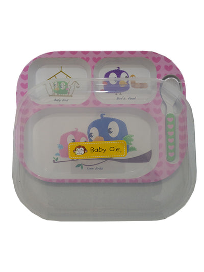 Baby Cie Bird Themed Food Tray with Lid and Spoon
