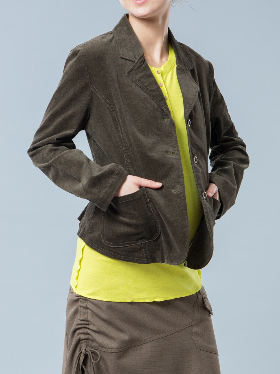 Maternity Corduroy Jacket - Right Side View with Pocket Detail