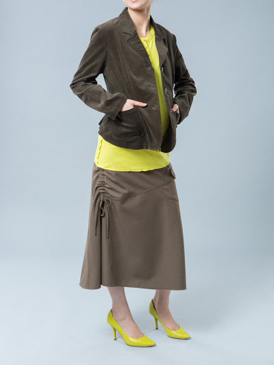 Maternity Corduroy Jacket Paired with Maternity Long Skirt