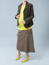 Maternity Corduroy Jacket - Left Side Profile - Cuff Button Detail