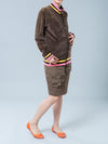 Maternity Velour Sportive Jacket with Zipper Paired with Maternity Cargo Skirt