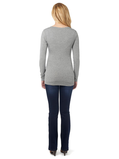 Long Sleeve Nursing Top with a Self-Tie at the Empire-Line