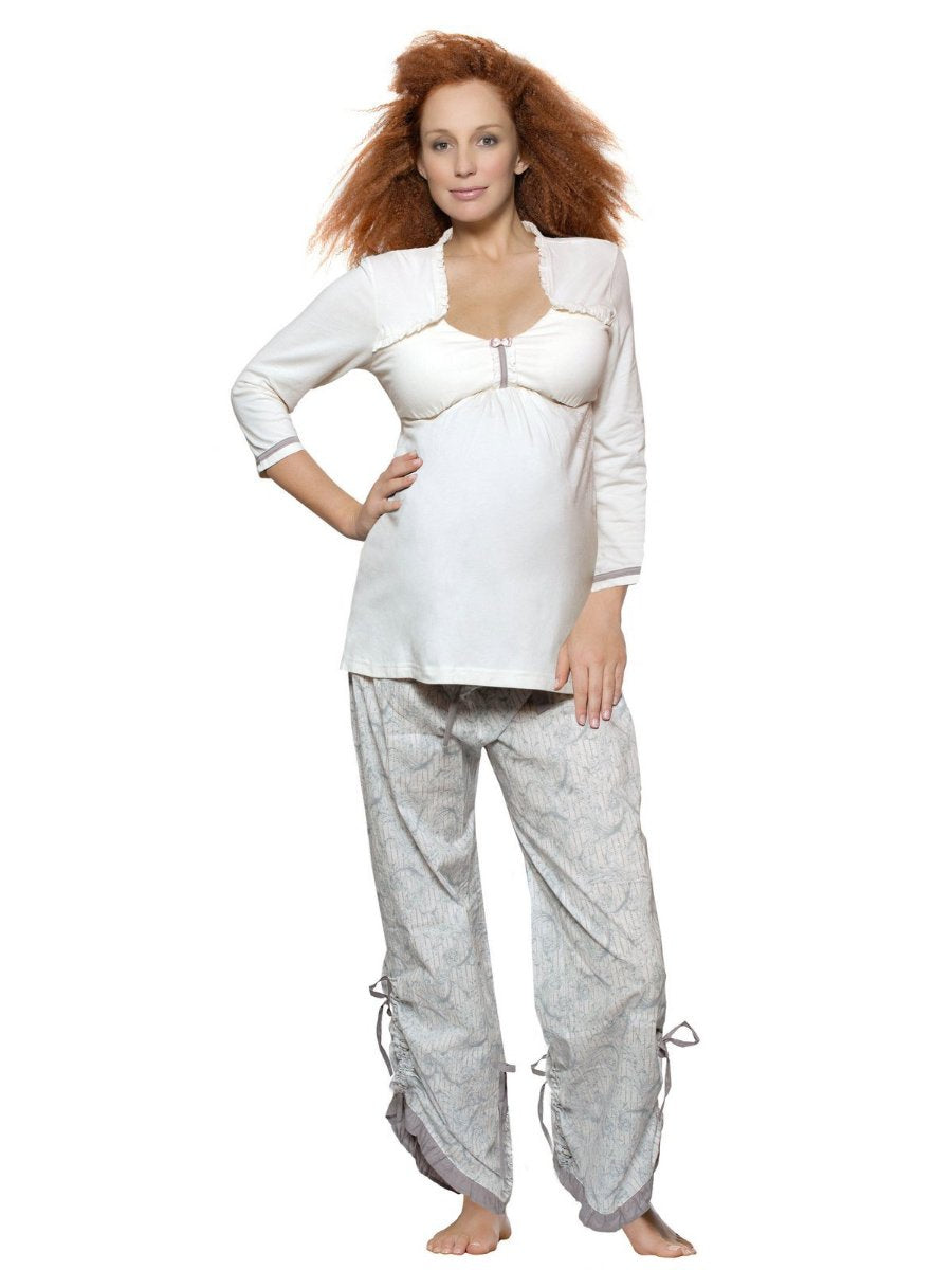 Hotmilk Two Piece Maternity and Nuring Pajamas with Convertible Pants
