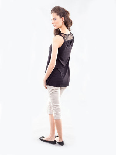 Maternity Laced Tank Paired with Skinny Maternity Crop Pants