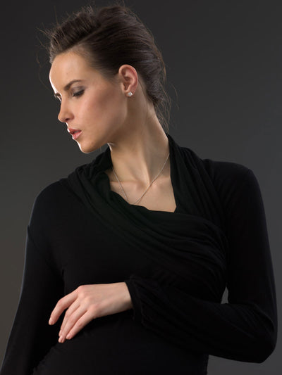 Asymmetrical Neck Maternity Top