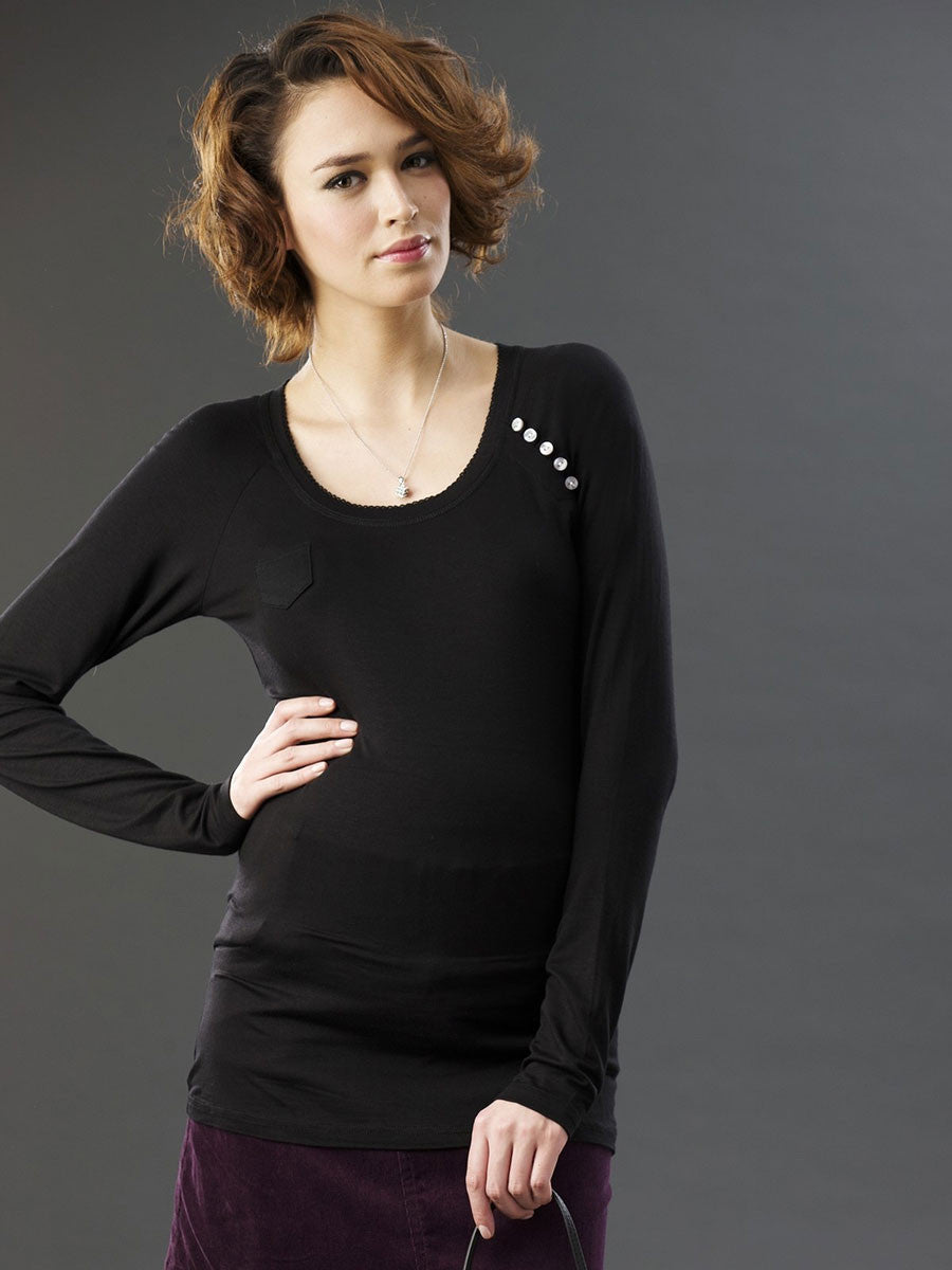 Matenity Top with Pocket & Button Details